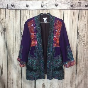 Soft Surroundings WOOL Patchwork Jacket XL